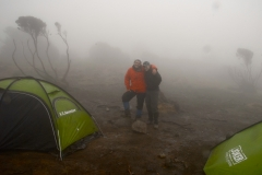 With Tami in a cloud, outside the 2-man tent we shared with Katie.