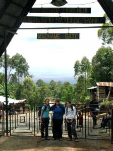 With Katie and Tami at Machame Gate, about to start our trek.