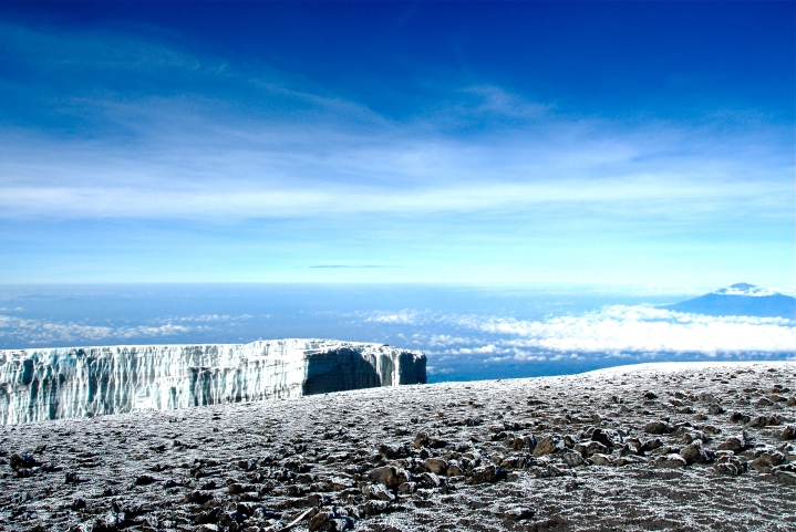 The view of the glacier from Uhuru Peak