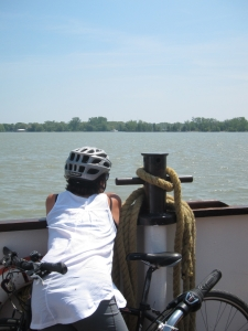 Onboard the ferry to the Toronto Islands with Toronto Bicycle Tours.
