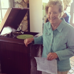 Grammie found a victrola like the one she grew up with in the historical 1918 Museum room.