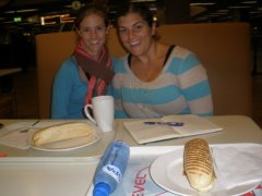 Enjoying breakfast with my friend, Katie, in the Amsterdam Airport.