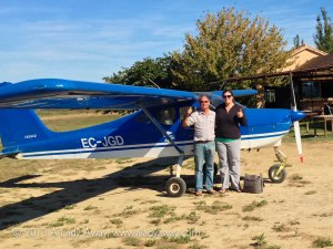 With Carlos, standing in front of his ultralight plane after a successful flight.