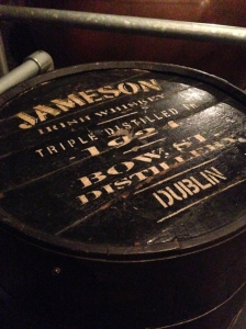 The importance of the various types of barrels used in the creation of Jameson whiskey is explained during the tour.