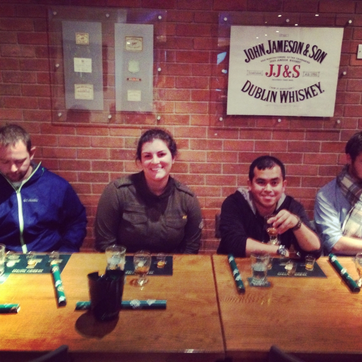 Jenn and the Guys - Jameson Distillery Whiskey tasting table.