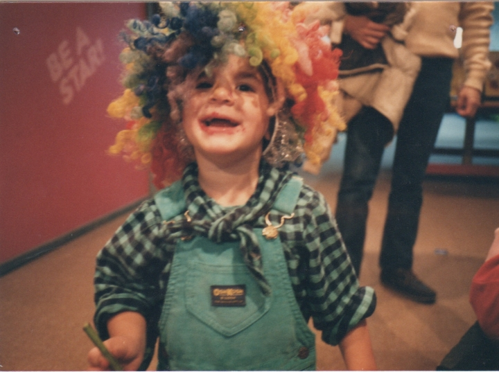 Celebrating my 3rd birthday at the Kohl Children's Museum - what a clown!