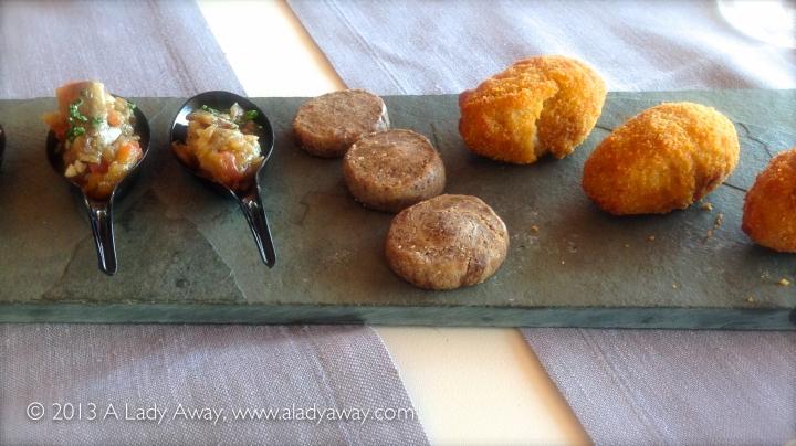 Cuchaoita de escalivda con anchoa de escala, galletita de foie, croqueta de carne de olla at Restaurante Tramontana.