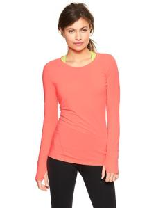 GapFit Breathe long-sleeve T in neon coral volt.
