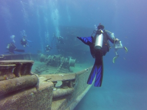 Diving the Kittiwake wreck with my GoPro on Grand Cayman.